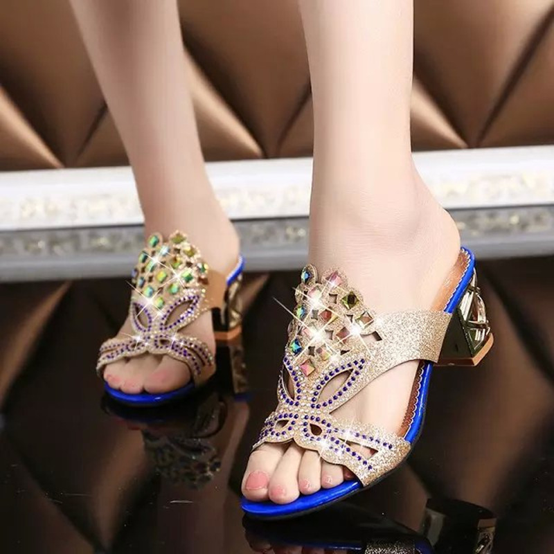70528846d995e ... 2015 summer new Korean style thick heel sandals and slippers female  fish head diamond diamond women ...